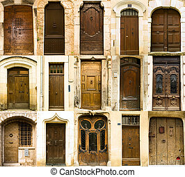 Collection of old french entrance doors , 15 doors set.