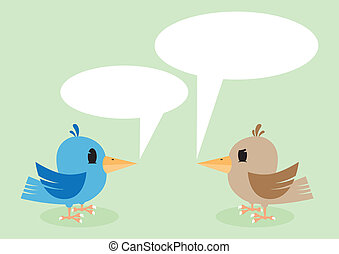 Two birds talking. vector illustration background