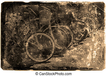 Vintage Photograph of Bikes in a Row