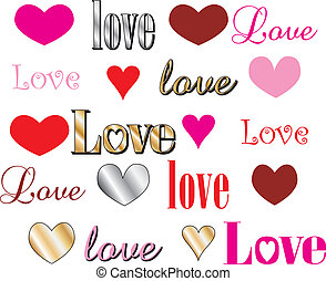 Love Heart Fonts - Vector Illustration for Valentines Day...