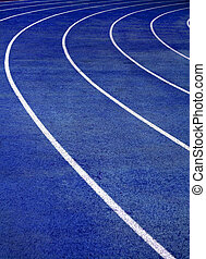 Running Track Blue - Lanes of blue running race track with...