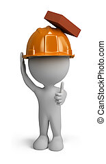 3d person - builder man in a helmet with a falling brick...