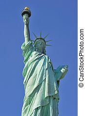 statua, libertà, closeup, nuovo, York, città,...