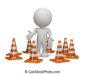 3d person with a traffic cone - 3dl person standing in the...