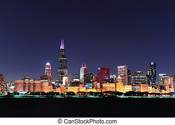 Chicago skyline at dusk - Chicago city downtown urban...
