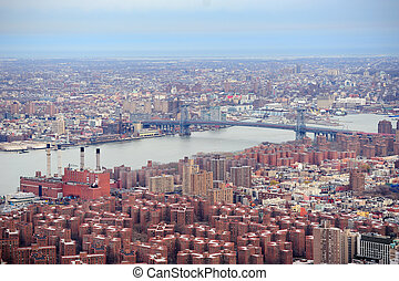 Brooklyn skyline Arial view from New York City Manhattan...