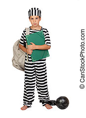 Student child with prisoner costume isolated on white...