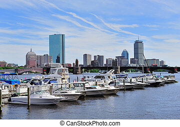 Urban cityscape in Boston - Boston Charles River with urban...