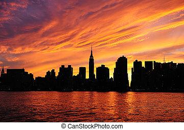 New York City Manhattan midtown silhouette panorama at...