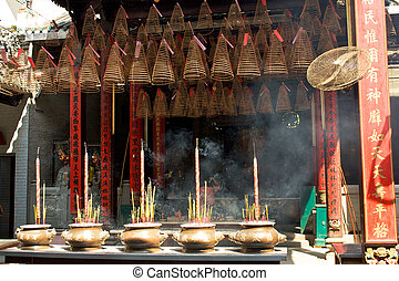 Pagoda with incense sticks - Thien Hau Pagoda, Ho Chi Minh,...
