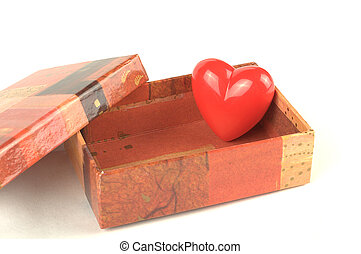 Red heart in the small box for Valentine day - Red heart in...