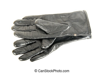 Black leather gloves are on each other