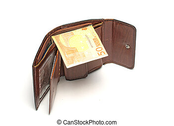 Wallet with euro banknote on white