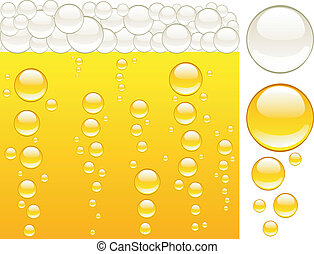 beer and bubbles - Shiny gold beer Vector illustration