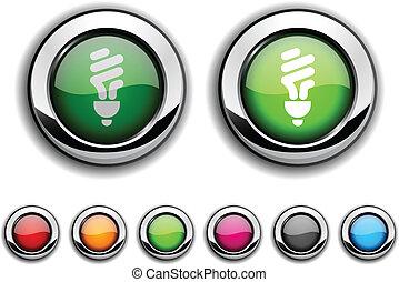 Fluorescent bulb button. - Fluorescent bulb realistic...