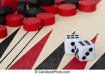 Backgammon and dices - Black and red Backgammon and dices....