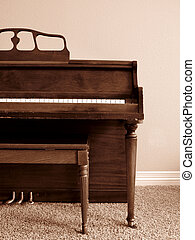 Piano in Home - Sepia toned piano in living room of house...
