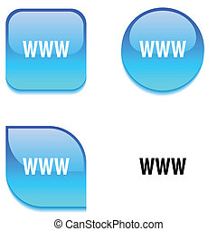 WWW glossy button. - WWW glossy vibrant web buttons.