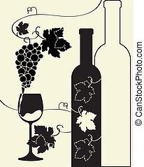 botella, vino, vidrio, uvas