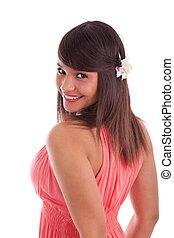 Beautiful young caucasian woman smiling