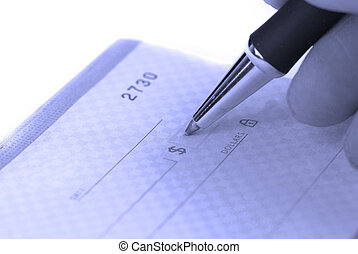 escrita, cheque, talao cheque