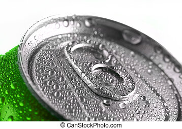 Fresh Soda Drink in Can - Closeup of soda or pop can with...