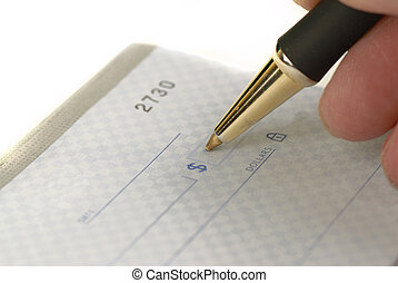Writing Check in Checkbook - Person writing check with pen...