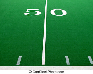 Football Field - Football field with green turf and white...