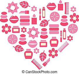 Pink abstract heart from cosmetic accessories isolated on...