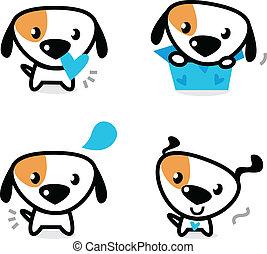 lindo, azul, Valentine, Perros, Conjunto, aislado, blanco