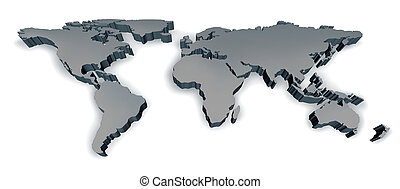 Three Dimensional World Map - Three dimensional grey world...