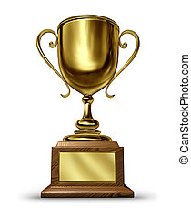Gold Trophy with a blank metal plaque on a whitebackground...
