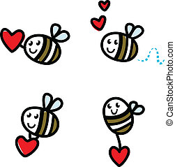 Cute flying doodle bee set with Valentine's red heart  isolated
