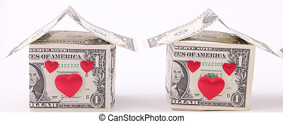 Houses made of one-dollar banknotes and red hearts