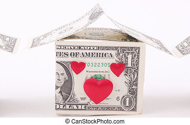 home - A home made of one-dollar banknotes and red hearts