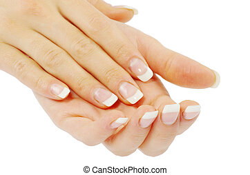 manicure - Beautiful woman hands with manicure