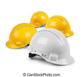 Four hard hat team - Four hard hat work team, protective...