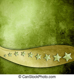green background with gold ribbon strip and stars -...