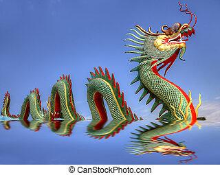 Giant Chinese dragon at WAt Muang, Thailand