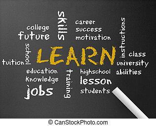 Chalkboard - Learn - Dark chalkboard with the word learn...