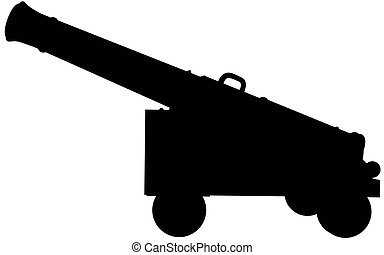 Cannon Silhouette - A silhouette of an old cannon.