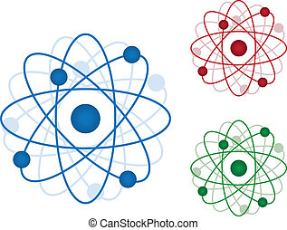 Atom Icon - Isolated atom icons in three colors Blue, Red...