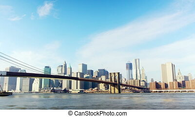 New York City Manhattan - Brooklyn Bridge with lower...