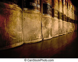Law Books on Shelf - Row of old leather law books on a shelf