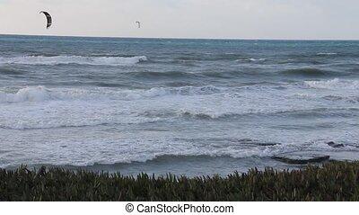 Kitesurfing in the winter sea