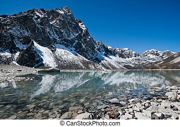 Sacred Lake and mountain near Gokyo in Himalayas, Nepal...