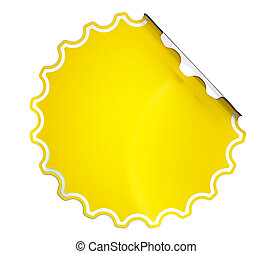 Round Yellow hamous sticker or label over white background