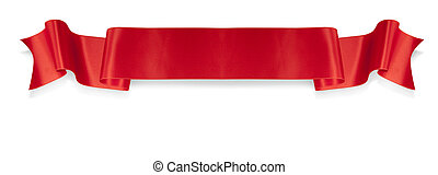 Elegance red ribbon banner with shadow