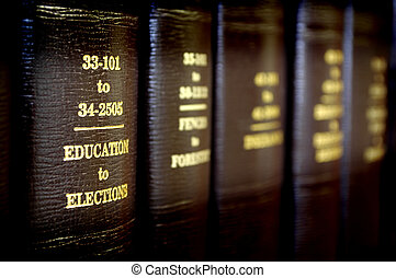 Law Books in a Row - Close up of several volumes of law...