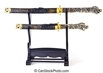 Katana on a Stand - Two authentic ornate katana Japanese...